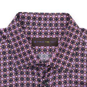 Etro Long Sleeve Button Front Shirt Geometric 46
